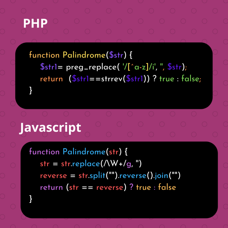 PHP and Javascript Palindrome