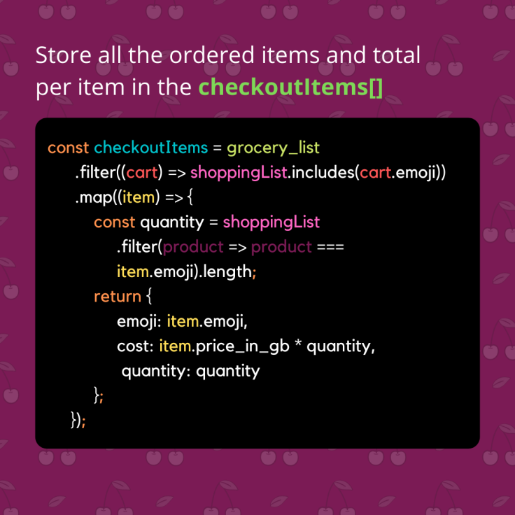 Javascript Array Method - Grocery Checkout