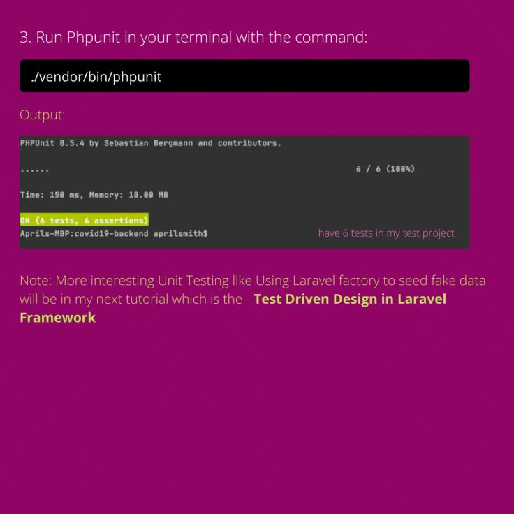 Setting up PHPUnit Testingin Laravel